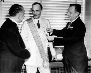 Henry Ford receives the Nazi Cross in Nazi uniform in 1938.